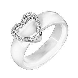 Кольцо из керамики и серебра с фианитами 000131761