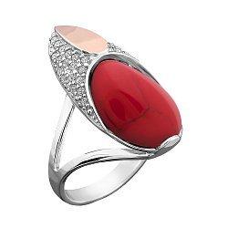 Серебряное кольцо с золотой накладкой, имитацией яшмы, фианитами и родием 000116732