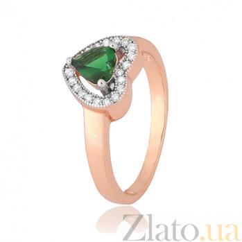 Позолоченное серебряное кольцо с зеленым фианитом Свет любви 000028436