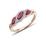 Кольцо в красном золоте Белла с рубином и бриллиантами