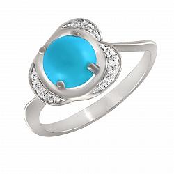 Кольцо из белого золота Ореста с бирюзой и бриллиантами