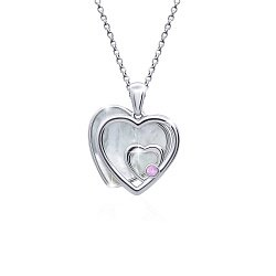 Серебряное колье Сердце среднее двойное с белым перламутром, 14x15мм