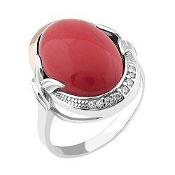 Серебряное кольцо с золотой накладкой, имитацией яшмы и фианитами 000100834