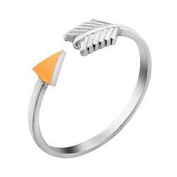 Серебряное разомкнутое кольцо Стрела с золотой накладкой на наконечнике 000102146