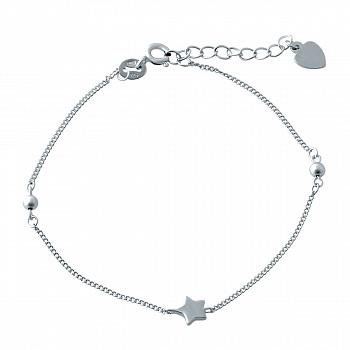 Серебряный браслет Эстель со звездочкой и двумя круглыми бусинками