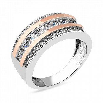 Кольцо с белыми фианитами и вставками из золота 000150299
