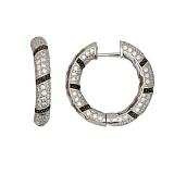 Серьги-кольца из белого золота с черными и белыми фианитами Зена