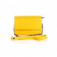 Кожаный клатч Genuine Leather 1535 ярко-желтого цвета с плечевым ремнем и клапаном на магните