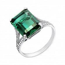 Серебряное кольцо Жермена с зеленым кварцем и фианитами