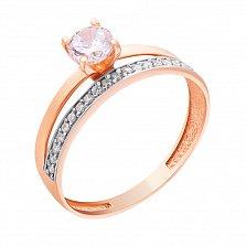 Золотое кольцо Виренея в красном цвете с фианитами