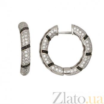 Серьги-кольца из белого золота с черными и белыми фианитами Зена VLT--ТТ2207-2