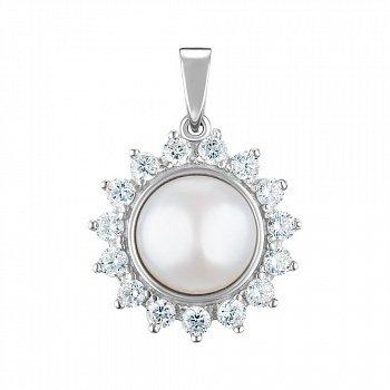 Срібний підвіс з перлами і фіанітами 000149003