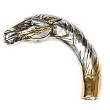 Серебряная ручка для трости Лошадь с позолотой