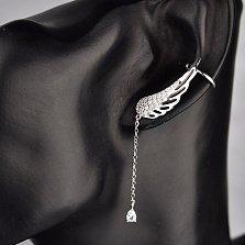 Серебряная серьга-каффа Крыло на левое ухо с подвеской и фианитом
