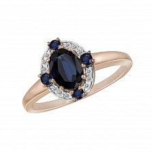 Кольцо из красного золота Стелла с бриллиантами и сапфирами