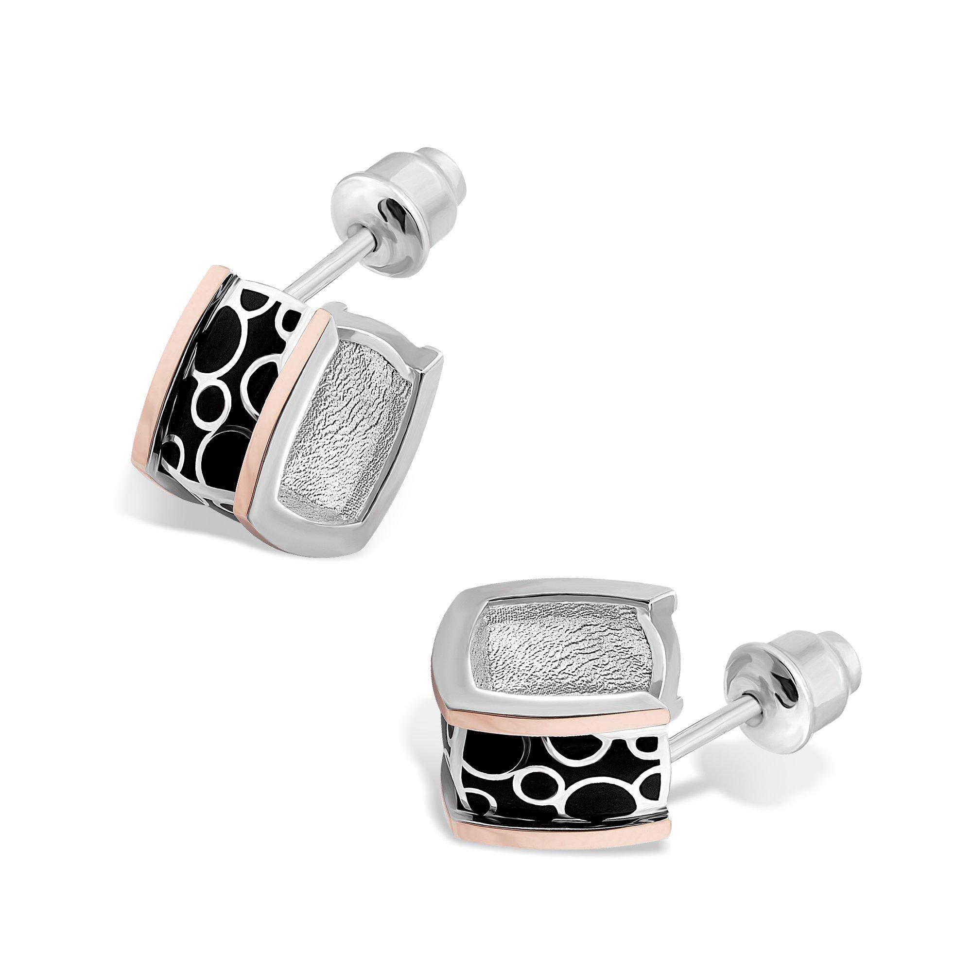 Серебряные серьги-пуссеты Лика с золотыми накладками и черной эмалью