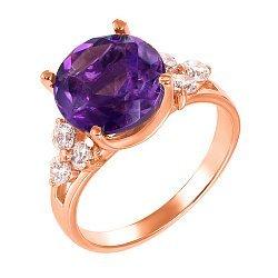 Кольцо из красного золота с аметистом и фианитами 000131263