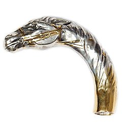 Серебряная ручка для трости с позолотой 000004607