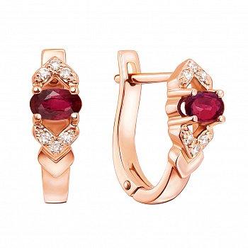 Серьги из красного золота с рубинами и бриллиантами 000133392