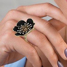Золотое кольцо Цвет ночи с бриллиантами и черной и белой эмалью