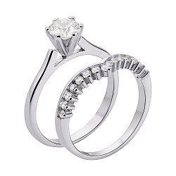 Серебряное наборное кольцо с фианитами 000136007