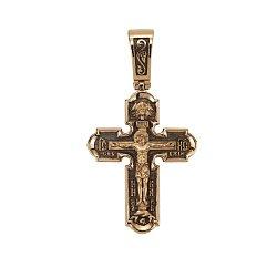 Двусторонний золотой крест Светлый образ с чернением 000068434