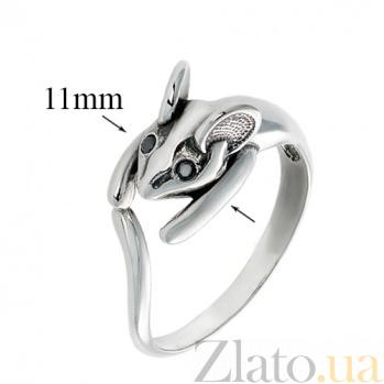 Серебряное кольцо с чёрными фианитами Мышь 000020006