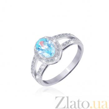 Серебряное кольцо Эрнеста с голубым и прозрачными фианитами 000025462