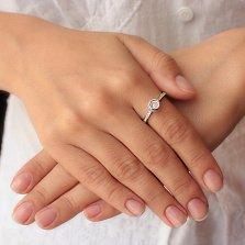 Серебряное кольцо Плавающий камушек с фианитами в стиле Шопар