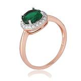 Позолоченное серебряное кольцо с зеленым фианитом Рашель