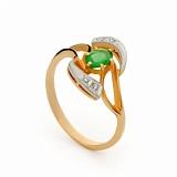 Золотое кольцо с изумрудом и бриллиантами Дерби