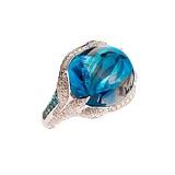 Золотое кольцо с голубым топазом, турмалинами и бриллиантами Сесилия