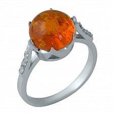 Серебряное кольцо Эльми с кастом-короной, янтарем и фианитами