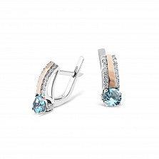 Серебряные родированные серьги Рианна с золотыми накладками, голубыми топазами и фианитами