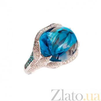 Золотое кольцо с голубым топазом, турмалинами и бриллиантами Сесилия 1К109-0010