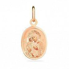 Ладанка из красного золота Икона Божьей Матери Владимирская
