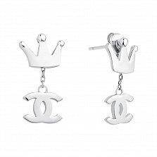 Серебряные пуссеты-трансформеры Шарм в виде короны со съемными подвесками в стиле Шанель