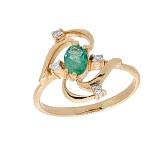 Золотое кольцо в красном цвете с изумрудом и бриллиантами Косма