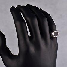 Серебряный перстень Динамика с черной эмалью и чернением