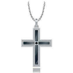 Крестик из белого золота с черным бриллиантом Тайна: Союз 000011798