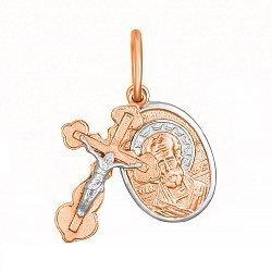 Крестик с ладанкой из серебра Небесный покровитель с позолотой 000028639