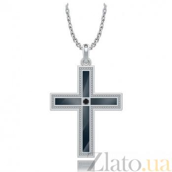 Крестик из белого золота с черным бриллиантом Тайна: Союз 6913