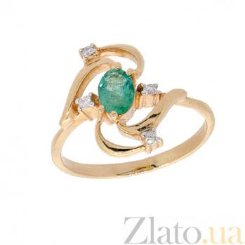 Золотое кольцо в красном цвете с изумрудом и бриллиантами Косма ZMX--RE-6672_K