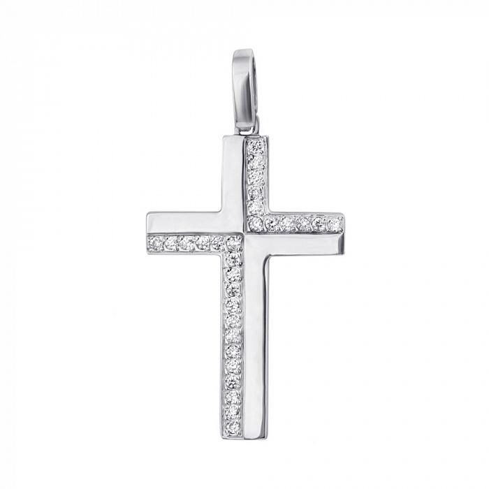 Декоративный крестик из белого золота с бриллиантами 000001170 EDM--КР7149/1