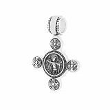 Серебряный черненый крест Божий лик с ангелом-хранителем на тыльной стороне