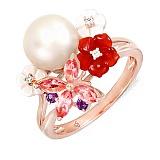 Золотое кольцо с жемчугом, агатом, топазами, перламутром и бриллиантами Нежность соцветия