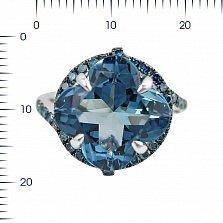 Кольцо из белого золота Беатриса с голубыми бриллиантами и топазом