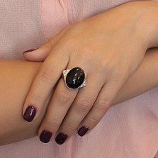 Серебряное кольцо Тайна ночи с крупным черным агатом и белыми фианитами