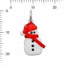 Серебряный подвес Снеговичок с красной и черной эмалью