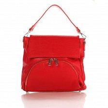 Кожаная сумка на каждый день Genuine Leather 8973 красного цвета с накладным карманом на молнии